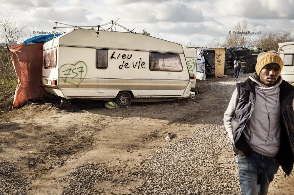 Calais, France. February 28, 2016. Lieu de vie, literally living place, was written on many tents in order to avoid them to be destroyed by the French government. The Calais Jungle Camp for migrants, in Calais, France, dates January 2015, it is now the biggest refugee camp in Europe, hosting around 3700 migrants from all over the world. The people hosted in the camp are willing to reach the UK due to the lack of job opportunities in the rest of Europe.