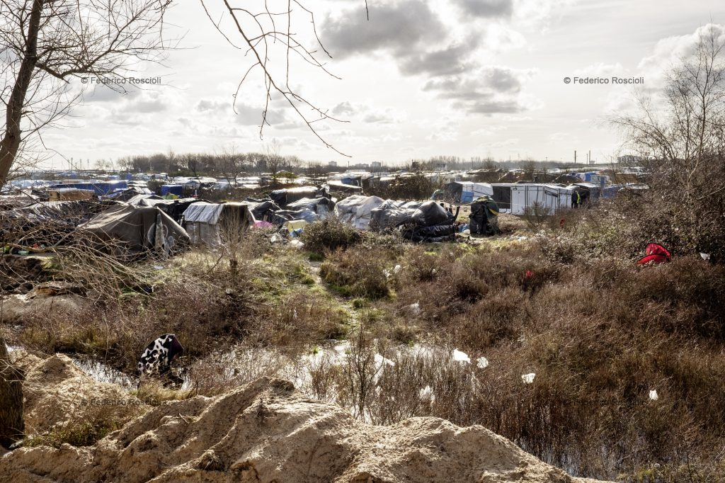Calais, France. February 28, 2016. View of the sudanese area of the camp. The Calais Jungle Camp for migrants, in Calais, France, dates January 2015, it is now the biggest refugee camp in Europe, hosting around 3700 migrants from all over the world. The people hosted in the camp are willing to reach the UK due to the lack of job opportunities in the rest of Europe.