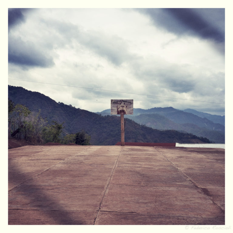 Soledad, Chiapas, Mexico. February 06, 2015. The basket court of the secondary school of the community of Soledad, in the district od Siltepec, Chiapas, Mexico.